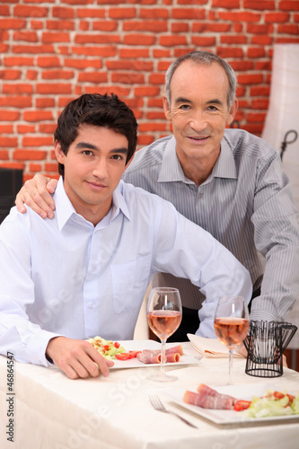 Two men in a restaurant