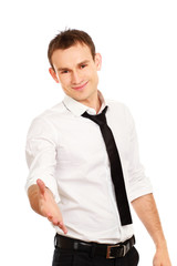 Portrait of happy smiling businessman giving hand