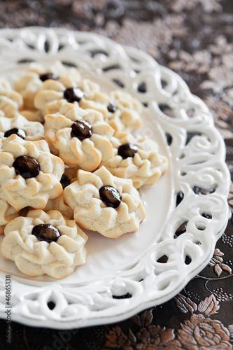 Traditional Christmas cookies with jam (Kuraby), selective focus