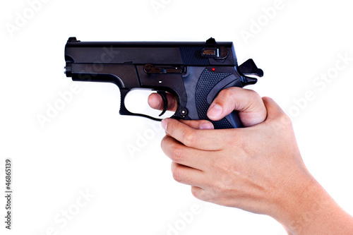 gun in girl hand