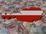 Austria Map flag on Euros illustration