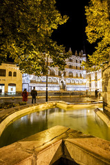 Botines Palace reflected in a fountain, Leon (Castilla y Leon),