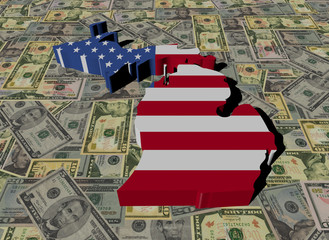 Michigan Map flag on American dollars illustration