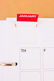 Monthly pop-up label in blank organizer.