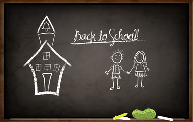 Back to School Chalkboard - school blackboard, hand drawn