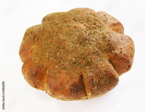 Rye loaf dusted with dry herb