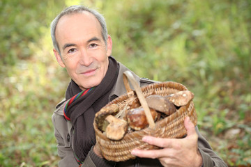 Senior man with a basket of mushrooms