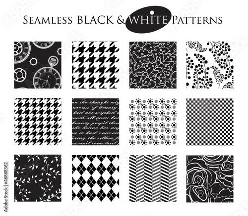 Set of 12 Seamless Black and White Patterns