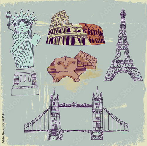 Deurstickers Doodle Famous World Landmarks, hand drawn