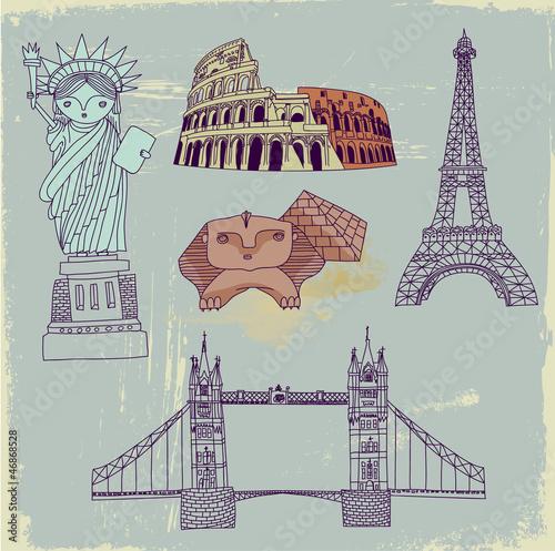 Famous World Landmarks, hand drawn