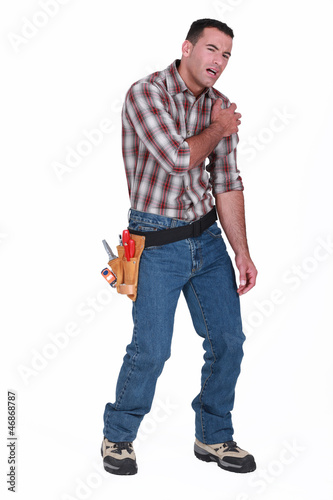 injured laborer, on white background