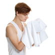man holding a towel isolated on white background