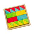 Colorful wooden toy blocks arranges in the tray for kids