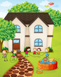 a house and kids