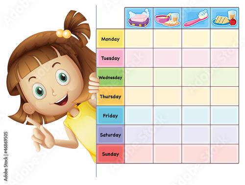 a girl and a calender