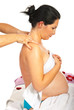 Pregnant receive shoulders massage