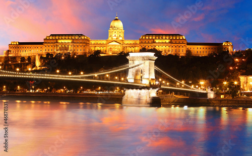 Budapest castle and chain bridge, Hungary