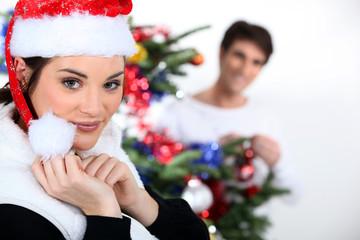 Couple celebrating Christmas.