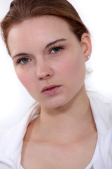 Head-shot of serious woman