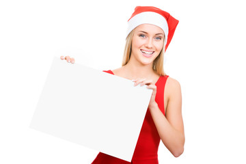 Santa girl shows a white space
