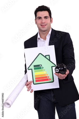 Man with energy rating sign  and piggy bank