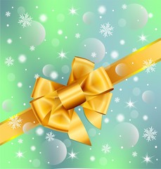 Christmas background with gold bow.