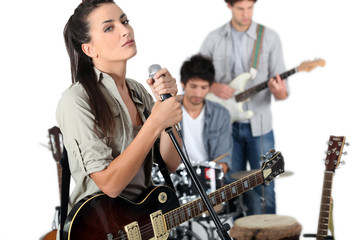 Female vocalist in a band
