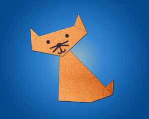 Origami cat made from paper