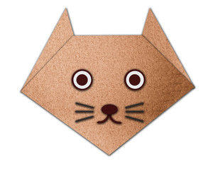 Origami cat made from paper made from paper