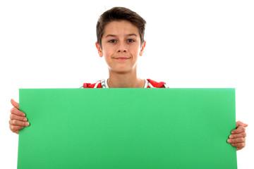 Junge mit Plakat