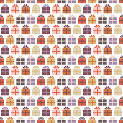 Seamless Pattern Gifts Retro Colors White