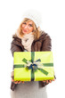 Happy woman with green gift box