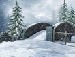 Stary most na zaśnieżonej łące