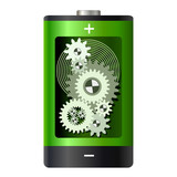 Abstract - battery with gear wheels inside