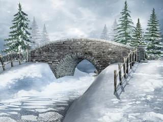 Zimowy krajobraz z kamiennym mostem nad rzeką