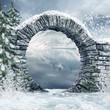 Ruiny bramy w zimowym lesie