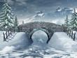 Most nad zamarzniętą rzeką w zimie