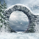 Fototapety Ruiny bramy w zimowym lesie