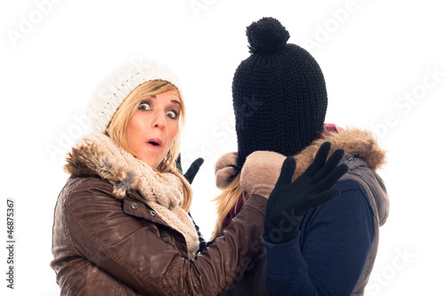 Funny women in winter clothes