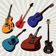 Guitars colorful