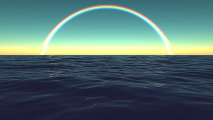 Rainbow Sky Ocean Surf Waves