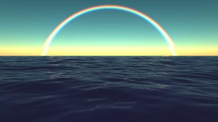 Rainbow Sky Ocean Surf Waves