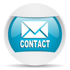 contact round blue web icon on white background