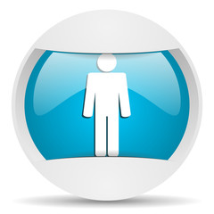 man round blue web icon on white background