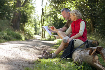 A mature couple resting beside a country path, looking at a map