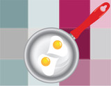 Colored squares light with fried eggs
