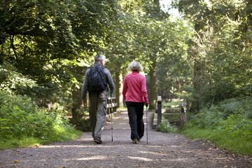 A mature couple walking along a country path, rear view