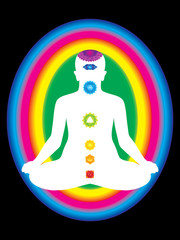 colorful aura with all chakras of body