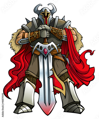 Crusader knight with huge sword, vector