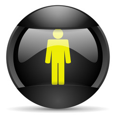 man round black web icon on white background